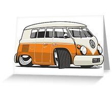 VW T1 Microbus cartoon orange Greeting Card