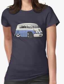VW T1 Microbus cartoon blue Womens Fitted T-Shirt