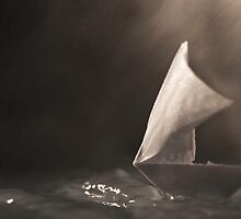 Miniature Origami Boat in a Storm by Katie Batchelor