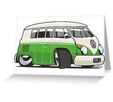 VW T1 Microbus cartoon bright green Greeting Card