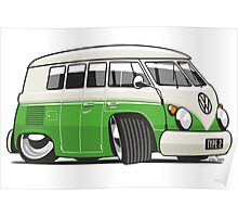 VW T1 Microbus cartoon bright green Poster
