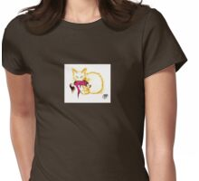 Cat stiker, Not your China Doll the golden cat Womens Fitted T-Shirt
