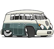 VW T1 Microbus cartoon green Photographic Print