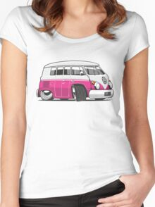 VW T1 Microbus cartoon pink Women's Fitted Scoop T-Shirt