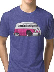 VW T1 Microbus cartoon pink Tri-blend T-Shirt