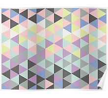 Triangles fun in pastel colors Poster