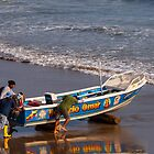 Launching the Boat, Engabao, Ecuador by Paul Wolf