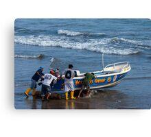 Launching the Boat, Engabao, Ecuador Canvas Print