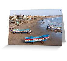 Rolling the Boat Ashore, Engabao, Ecuador Greeting Card