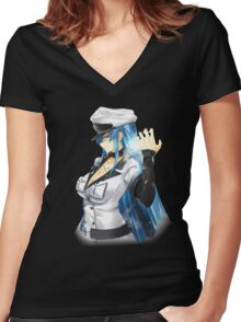 general esdeath evil grin Women's Fitted V-Neck T-Shirt