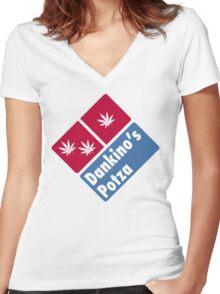 Dankino's Potza - Domino's Pizza Marijuana Parody Women's Fitted V-Neck T-Shirt