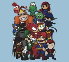The Justice League of Nintendo and Sidekicks Baby Tee