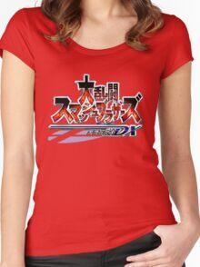 Japanese Super Smash Bros. Melee Logo Women's Fitted Scoop T-Shirt