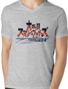 Japanese Super Smash Bros. Melee Logo Mens V-Neck T-Shirt