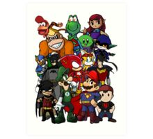 The Justice League of Nintendo and Sidekicks Art Print