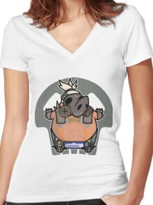 Apocalyptic Pig Women's Fitted V-Neck T-Shirt