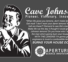 Portal - Cave Johnson's Quotable Quotes - dark background by littlebearart