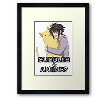 cuddles and anime! Framed Print
