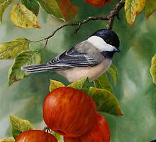 Chickadee and Apples iPhone Case by csforest