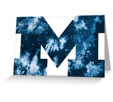 Blue and White Tie Dye M Greeting Card