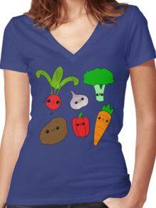 Chibi Veggies Women's Fitted V-Neck T-Shirt