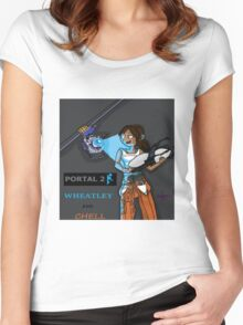 Chell and Wheatley Women's Fitted Scoop T-Shirt