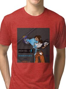 Chell and Wheatley Tri-blend T-Shirt