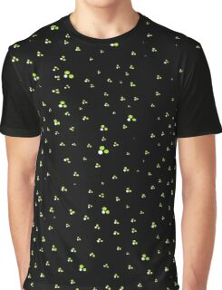Black with Green & White Dots Graphic T-Shirt