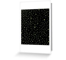 Black with Green & White Dots Greeting Card