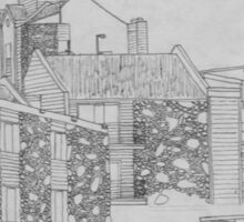 Stone apartment complex drawing Sticker