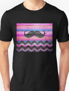 Mustache Chevron Stripes Modern Wood T-Shirt