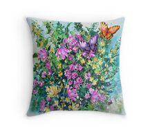 Posies and Butterflies Pillow Throw Pillow