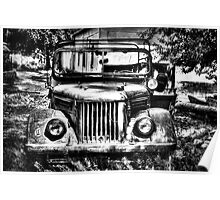 Tajik Jeep in Black and White Poster