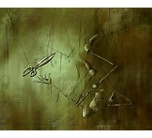 Reaching for Scissors, Creepy Puppet Painting Photographic Print
