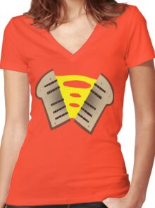 Cheese Sandwich Women's Fitted V-Neck T-Shirt