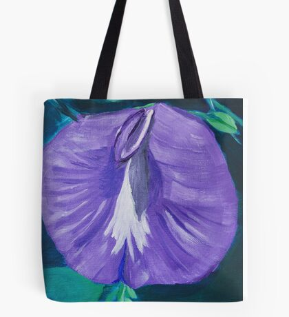 Purple and White Butterfly Pea Flower Tote Bag