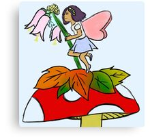 Pink and Blue Flower Fairy Canvas Print