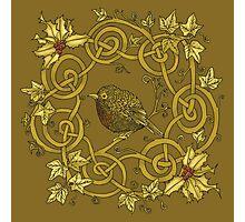 """Robin Wreath"" Gold Holly & Ivy Celtic Seasonal Design Photographic Print"