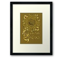 """Robin Wreath"" Gold Holly & Ivy Celtic Seasonal Greetings Card Framed Print"