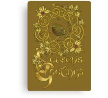 """Robin Wreath"" Gold Holly & Ivy Celtic Seasonal Greetings Card Canvas Print"