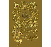"""Robin Wreath"" Gold Holly & Ivy Celtic Seasonal Greetings Card Photographic Print"