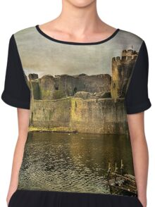 Caerphilly's Stronghold in South Wales Chiffon Top