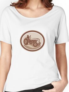 Vintage Farm Tractor Driver Waving Circle Retro Women's Relaxed Fit T-Shirt