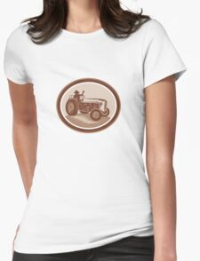 Vintage Farm Tractor Driver Waving Circle Retro T-Shirt