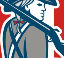 American Patriot Minuteman Holding Musket Rifle Shield Retro Sticker
