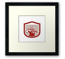 Soldier Military Serviceman Holding Assault Rifle Crest Retro Framed Print