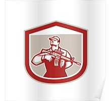 Soldier Military Serviceman Holding Assault Rifle Crest Retro Poster