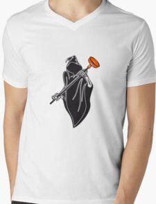 Death hooded toilet sucker Pümpel funny Mens V-Neck T-Shirt