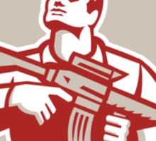 Soldier Military Serviceman Holding Assault Rifle Crest Retro Sticker