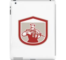 Soldier Military Serviceman Holding Assault Rifle Crest Retro iPad Case/Skin
